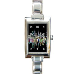 City Panorama Rectangle Italian Charm Watch by Valentinaart