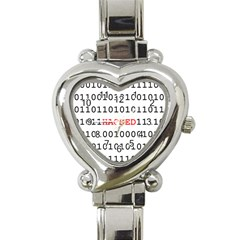 Binary Black Cyber Data Digits Heart Italian Charm Watch by Nexatart
