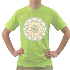 Blue Circle Ornaments Green T Shirt by Nexatart