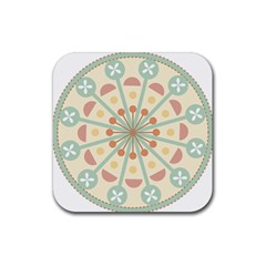 Blue Circle Ornaments Rubber Coaster (square)