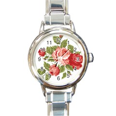 Flower Rose Pink Red Romantic Round Italian Charm Watch by Nexatart