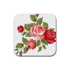 Flower Rose Pink Red Romantic Rubber Square Coaster (4 Pack)