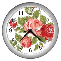 Flower Rose Pink Red Romantic Wall Clocks (silver)  by Nexatart