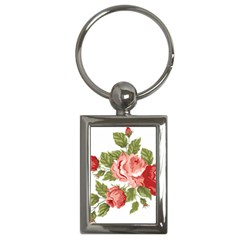 Flower Rose Pink Red Romantic Key Chains (rectangle)