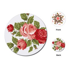 Flower Rose Pink Red Romantic Playing Cards (round)