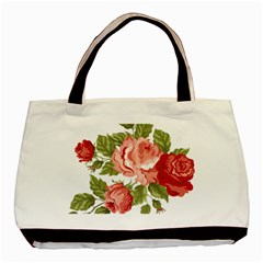 Flower Rose Pink Red Romantic Basic Tote Bag (two Sides)