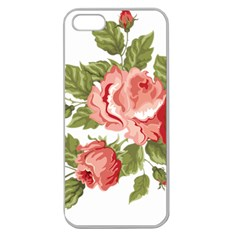 Flower Rose Pink Red Romantic Apple Seamless Iphone 5 Case (clear) by Nexatart