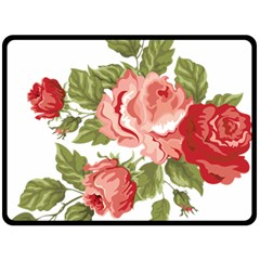 Flower Rose Pink Red Romantic Double Sided Fleece Blanket (large)  by Nexatart
