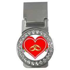 Heart Flowers Ring Money Clips (cz)  by Nexatart