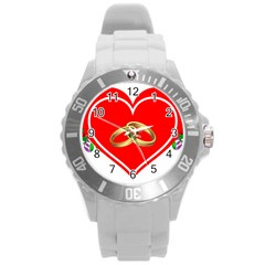 Heart Flowers Ring Round Plastic Sport Watch (l)