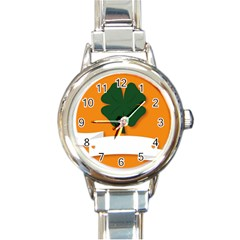 St Patricks Day Ireland Clover Round Italian Charm Watch by Nexatart