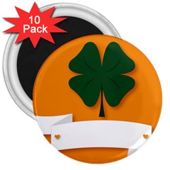 St Patricks Day Ireland Clover 3  Magnets (10 Pack)  by Nexatart
