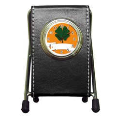 St Patricks Day Ireland Clover Pen Holder Desk Clocks by Nexatart
