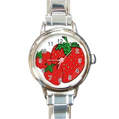 Strawberry Holidays Fragaria Vesca Round Italian Charm Watch