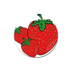 Strawberry Holidays Fragaria Vesca Magnet 3  (round) by Nexatart