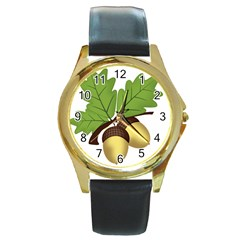 Acorn Hazelnuts Nature Forest Round Gold Metal Watch