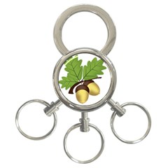 Acorn Hazelnuts Nature Forest 3 Ring Key Chains by Nexatart