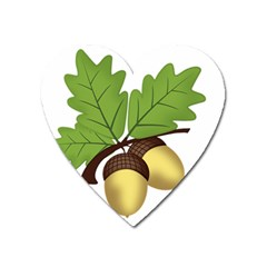 Acorn Hazelnuts Nature Forest Heart Magnet by Nexatart