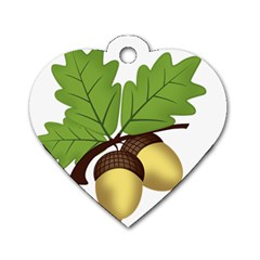Acorn Hazelnuts Nature Forest Dog Tag Heart (two Sides)