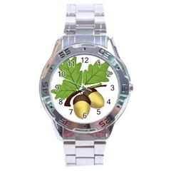 Acorn Hazelnuts Nature Forest Stainless Steel Analogue Watch by Nexatart