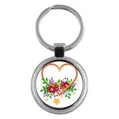 Heart Flowers Sign Key Chains (round)  by Nexatart