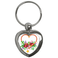 Heart Flowers Sign Key Chains (heart)  by Nexatart