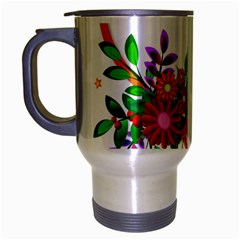 Heart Flowers Sign Travel Mug (silver Gray) by Nexatart