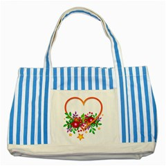 Heart Flowers Sign Striped Blue Tote Bag