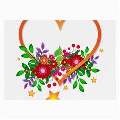 Heart Flowers Sign Large Glasses Cloth