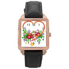 Heart Flowers Sign Rose Gold Leather Watch  by Nexatart