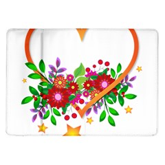 Heart Flowers Sign Samsung Galaxy Tab 10 1  P7500 Flip Case by Nexatart