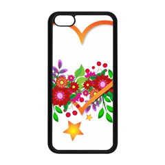 Heart Flowers Sign Apple Iphone 5c Seamless Case (black)
