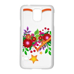 Heart Flowers Sign Samsung Galaxy S5 Case (white) by Nexatart