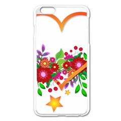 Heart Flowers Sign Apple Iphone 6 Plus/6s Plus Enamel White Case by Nexatart