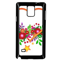 Heart Flowers Sign Samsung Galaxy Note 4 Case (black)