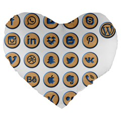 Social Media Icon Icons Social Large 19  Premium Heart Shape Cushions by Nexatart
