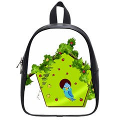 Bluebird Bird Birdhouse Avian School Bags (small)  by Nexatart