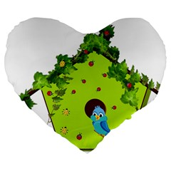 Bluebird Bird Birdhouse Avian Large 19  Premium Heart Shape Cushions by Nexatart