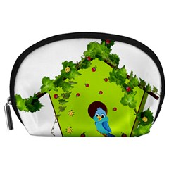 Bluebird Bird Birdhouse Avian Accessory Pouches (large)  by Nexatart