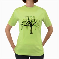 Tree Fantasy Magic Hearts Flowers Women s Green T Shirt