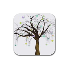 Tree Fantasy Magic Hearts Flowers Rubber Square Coaster (4 Pack)