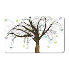 Tree Fantasy Magic Hearts Flowers Magnet (rectangular)