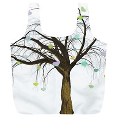 Tree Fantasy Magic Hearts Flowers Full Print Recycle Bags (l)