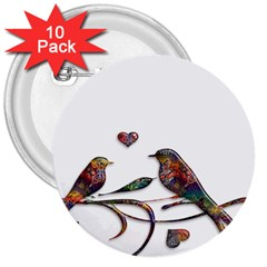 Birds Abstract Exotic Colorful 3  Buttons (10 Pack)  by Nexatart