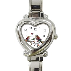 Birds Abstract Exotic Colorful Heart Italian Charm Watch by Nexatart