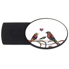 Birds Abstract Exotic Colorful Usb Flash Drive Oval (4 Gb) by Nexatart