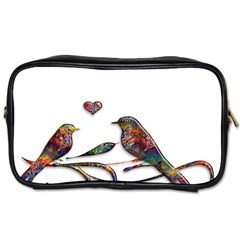 Birds Abstract Exotic Colorful Toiletries Bags 2 Side