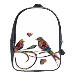 Birds Abstract Exotic Colorful School Bags (xl)  by Nexatart