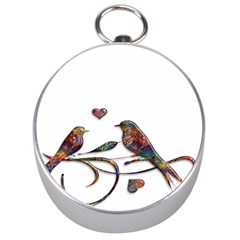 Birds Abstract Exotic Colorful Silver Compasses