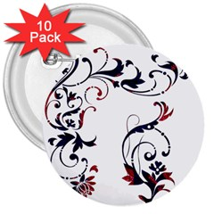 Scroll Border Swirls Abstract 3  Buttons (10 Pack)